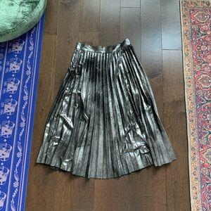 Zara | metallic pleated midi skirt